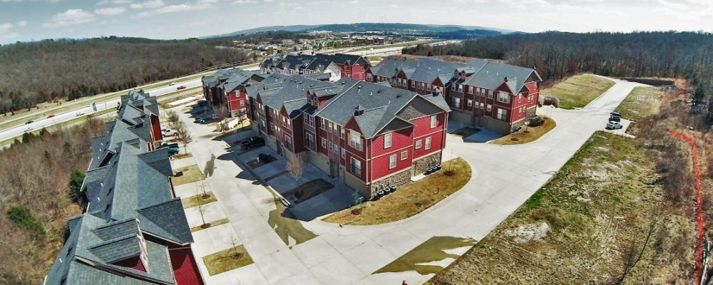 drone view of apartment complex